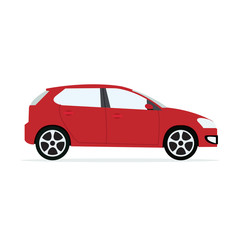 Papiers peints Cartoon voitures Red modern Car with isolated white background.Sport car vector.