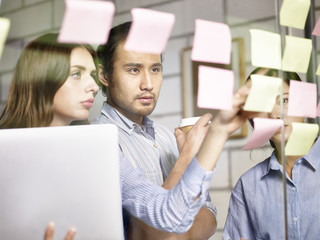 business people in multinational company working together