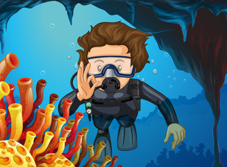 Man doing scuba diving under the ocean