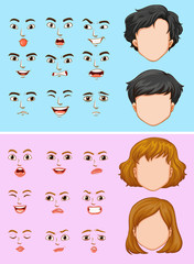 Man and woman with many facial expressions