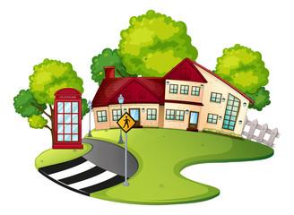 Neighborhood scene with house and road