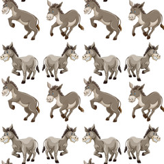 Seamless background design with gray donkeys