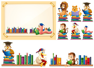 Paper frame and many animals reading books