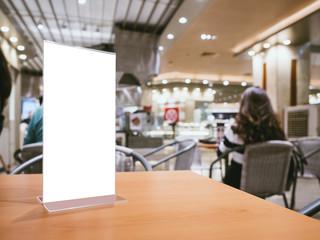 Mock up Menu frame on Table Bar restaurant cafe Background with people