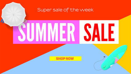 Summer super sale. Selling ad banner. Summer super vacation discounts. Sun umbrella, surfboard on flat design poster. Sign of the vacation rest. Summer sale horizontal background.