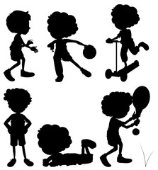 Silhouette children doing different activities
