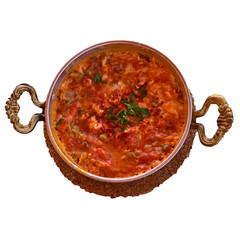 Menemen Turkish breakfast food egg, tomatoes and pepper in pan