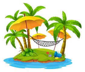 Coconut trees and hammock on island