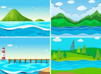 Ocean scenes with green hills
