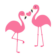 Pink flamingo couple holding heart. Love family. Exotic tropical bird. Zoo animal kids collection. Cute cartoon character. Greeting card. Flat design. White background Isolated