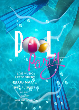 pool party background with inflatable balls and woman's legs in flippers. Vector illustration