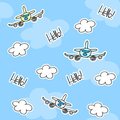 Kids cute seamless pattern with airplanes, clouds and Hello word. Blue colors. For decoration paper and textiles. Vector illustration.