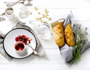 Morning Breakfast on wooden table.