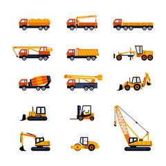 Construction Vehicles - modern vector flat design icons set