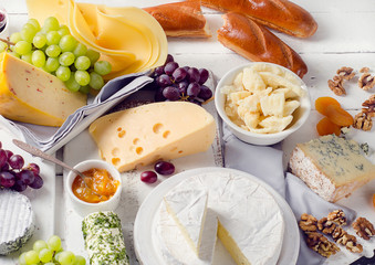 Cheese plate served with grapes