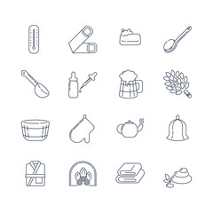 Spa, sauna linear icons. Washcloth, soap, ladle, aromatic oil, beer, broom for a bath and other accessories for spa relaxation. Health and body care thin line icons