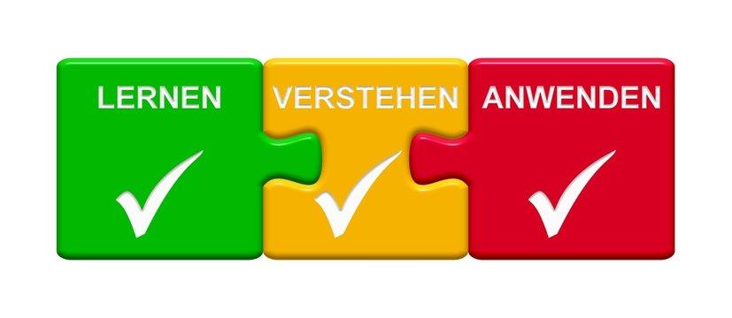 3 Puzzle Buttons zeigen Lernen Verstehen Anwenden