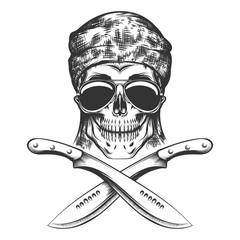 Skull with machete
