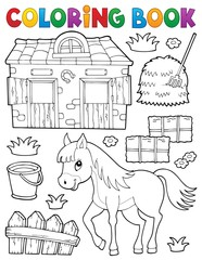Coloring book horse and related objects