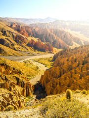 Landscape around Quebrada de Palala Valley with eroded spiky rock formations, El Sillar pass near Tupiza, Bolivia, South America.