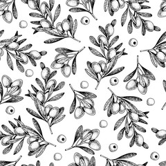 Vector hand drawn seamless pattern of olive branches. Natural cosmetic products. Hair care oils. Farm vegetables. Engraved art.