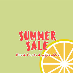Summer Sale banner with pieces fruit, bright design.
