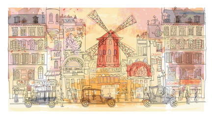 Papiers peints Art Studio Paris in watercolor, Moulin rouge