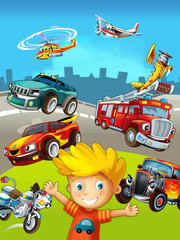Printed roller blinds Cars cartoon scene with young boy and different vehicles - illustration for children