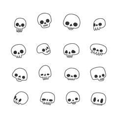 Doodle hand drawn cute naive skulls vector set.