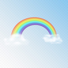 Realistic vector transparent rainbow with clouds.
