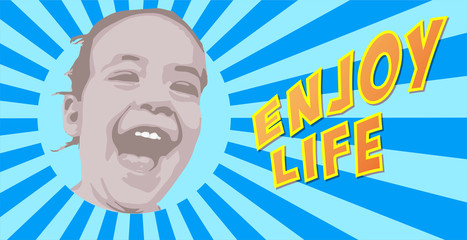 happy little girl laughing on blue starburst background with enjoy life text pop art