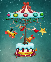 Holiday greeting Christmas card with tree and Carousel gifts