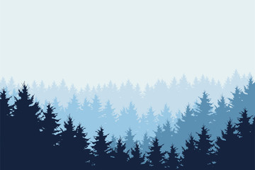 Blue vector illustration of forest in winter under blue sky, layered