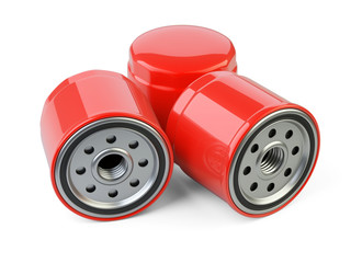 A set of new oil filters. Automobile spare part.