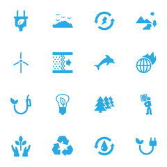 Set Of 16 Ecology Icons Set.Collection Of Leaf, Rubbish, Saving And Other Elements.
