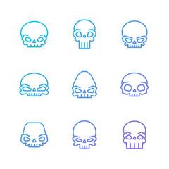 Outline skulls blue-purple gradient vector icon set. Part two.