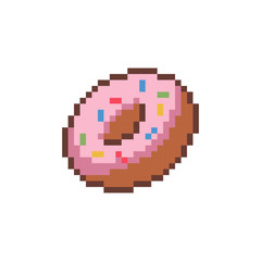Pixel style delicious donut - isolated vector illustration