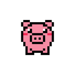 Pixel style farm pig - isolated vector illustration