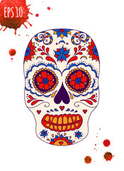 Vector skull color illustration, t-shirt graphics. Day of the dead sugar skull. Mexican skull. Day of the dead skull. Dia de los muertos skull illustration.