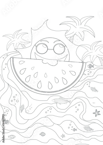 Drawing Plates For Kids With Sun And Waves Summer Holiday Atmosphere