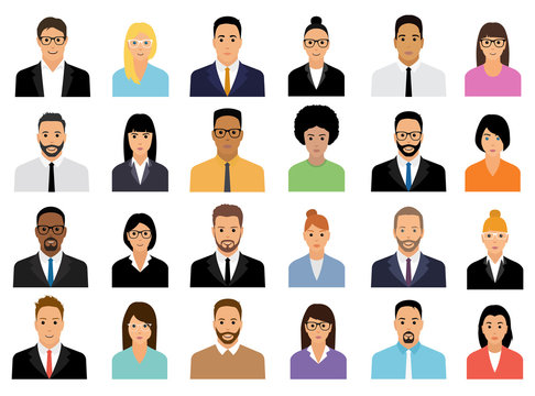 People Icons Set. Team Concept. Diverse business men and women avatar icons. Vector illustration of flat design people characters.