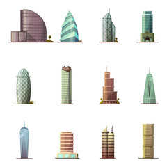 Office buildings. Historical and modern world most visited famous distinctive buildings