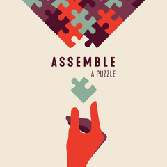 Assemble a Puzzle and hand vector graphic poster. Jigsaw Concept of programming, ordered system, teamwork, unity, partnership or company.