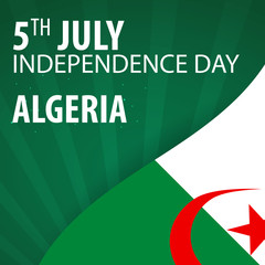 Independence day of Algeria. Flag and Patriotic Banner. Vector illustration.