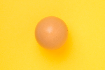 Single brown chicken egg on yellow background