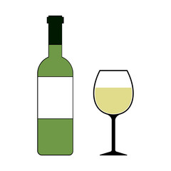 White Wine Bottle and Glass Isolated Vector Illustration