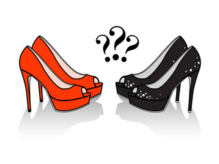 Pair of high heel shoes with question mark. Isolated vector image.