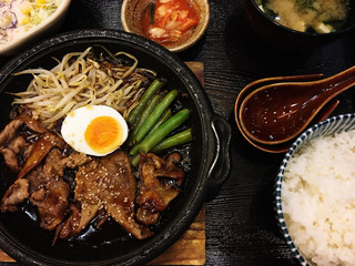 Close up of Japanese food.