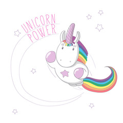 Hand drawn vector illustration of a unicorn with rainbow mane and tail flying like super hero, with text Unicorn power.