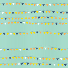 Triangular flags on string seamless pattern. Bunting
